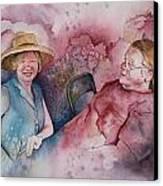 Taylor And Chuck At The Picnic Canvas Print by Patsy Sharpe