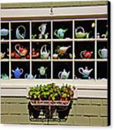 Tea Pots In Window Canvas Print