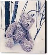 Teddy In Snow Canvas Print