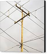 Telephone Pole And Electric Cables Canvas Print