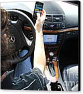 Texting And Driving Canvas Print by Photo Researchers, Inc.