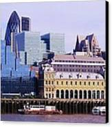 Thames And Financial District - London Canvas Print by John Clark