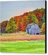 The Barn In Autumn Canvas Print by Michael Garyet
