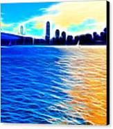 The Bay Bridge And The San Francisco Skyline . Panorama Canvas Print