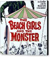 The Beach Girls And The Monster Canvas Print