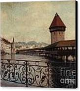 The Chapel Bridge In Lucerne Switzerland Canvas Print by Susanne Van Hulst