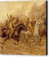 The Charge Of The Bengal Lancers At Neuve Chapelle Canvas Print by Derville Rowlandson