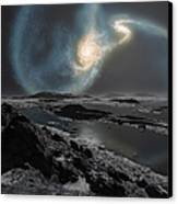 The Collision Of The Milky Way Canvas Print by Ron Miller