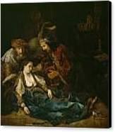 The Death Of Lucretia - Mid 1640s  Canvas Print by Harmensz van Rijn Rembrandt