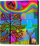 The Earth Rejoices Series Deer And Basswood Canvas Print by Robin Jensen