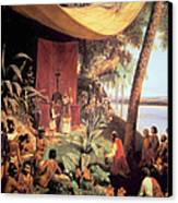 The First Mass Held In The Americas Canvas Print by Pharamond Blanchard