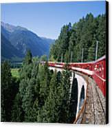 The Glacier Express Crosses A Bridge Canvas Print by Taylor S. Kennedy