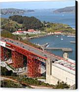 The Golden Gate Bridge North Side Overlooking Angel Island And Tiburon And Horseshoe Bay . 7d14540 Canvas Print by Wingsdomain Art and Photography