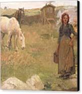 The Gypsy Camp Canvas Print by Harold Harvey