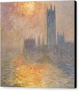 The Houses Of Parliament At Sunset Canvas Print by Claude Monet