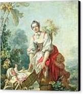 The Joys Of Motherhood Canvas Print by Jean-Honore Fragonard
