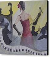 The Lady And Jazz Canvas Print by Janna Columbus