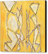 Unique Abstract Art Giclee Canvas Print Original Painting The Couple Decorator Line Art Yellow White Canvas Print