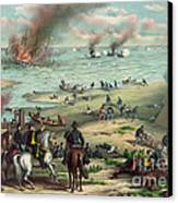 The Monitor And The Merrimac 1862 Canvas Print by Photo Researchers