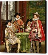 The Musketeer's Tale Canvas Print by Adolphe Alexandre Lesrel