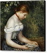 The Reader A Seated Young Girl  Canvas Print by Pierre Auguste Renoir