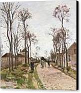 The Road To Saint Cyr At Louveciennes Canvas Print by Camille Pissarro