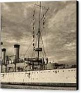 The Uss Olympia Black And White Canvas Print by JC Findley