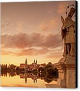 The Village, The Lake And A Statue On Na Hrazi Canvas Print