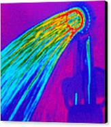 Thermogram Of Water Pouring From A Shower Head Canvas Print by Dr. Arthur Tucker