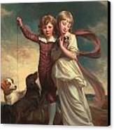 Thomas John Clavering And Catherine Mary Clavering Canvas Print by George Romney