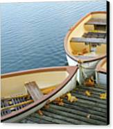 Three Boats Floating On Pond Beside Pier Canvas Print