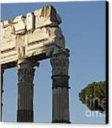 Three Columns And Architrave Temple Of Castor And Pollux Forum Romanum Rome Canvas Print