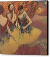 Three Dancers In Yellow Skirts Canvas Print by Edgar Degas