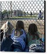 Three Girls Watching Ball Game Behind Home Plate Canvas Print