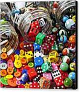 Three Jars Of Buttons Dice And Marbles Canvas Print