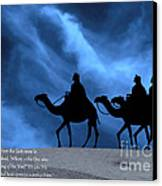 Three Kings Travel By The Star Of Bethlehem - Midnight With Caption Canvas Print by Gary Avey