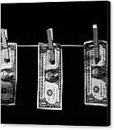 Three One Dollar Bill Banknotes Hanging On A Washing Line With Blue Sky Canvas Print by Joe Fox
