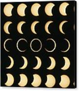 Time-lapse Image Of A Solar Eclipse Canvas Print