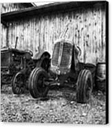 Tired Tractors Bw Canvas Print