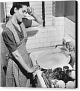 Tired Woman At Kitchen Sink, (b&w), Elevated View Canvas Print