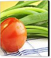 Tomato And Green Onions Canvas Print