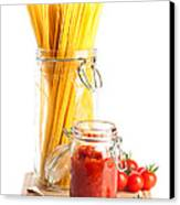 Tomatoes Sauce And  Spaghetti Pasta  Canvas Print by Amanda Elwell