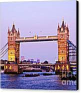 Tower Bridge In London At Dusk Canvas Print