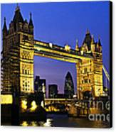 Tower Bridge In London At Night Canvas Print