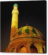 Towering Mosque In The Night Canvas Print by Rick Frost