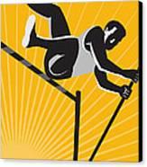 Track And Field Athlete Pole Vault High Jump Retro Canvas Print by Aloysius Patrimonio