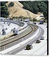 Train And Motorway, California, Usa Canvas Print by Martin Bond