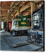 Trains - Engines Railcars Caboose In The Roundhouse Canvas Print by Dan Carmichael