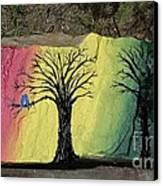 Tree With Lovebirds Canvas Print by Monika Shepherdson