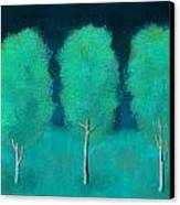 Trees In Triplicate Moonlit Winter Canvas Print by Robin Lewis